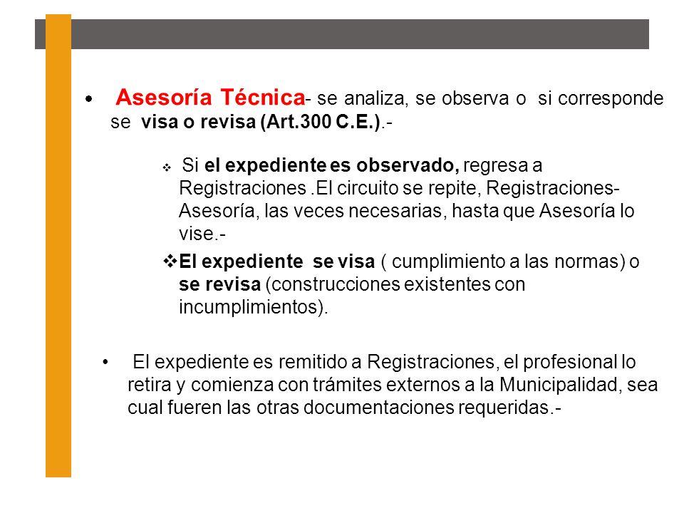 Asesoría Técnica - se analiza, se observa o si corresponde se visa o revisa (Art.300 C.E.).- Si el expediente es observado, regresa a Registraciones.E