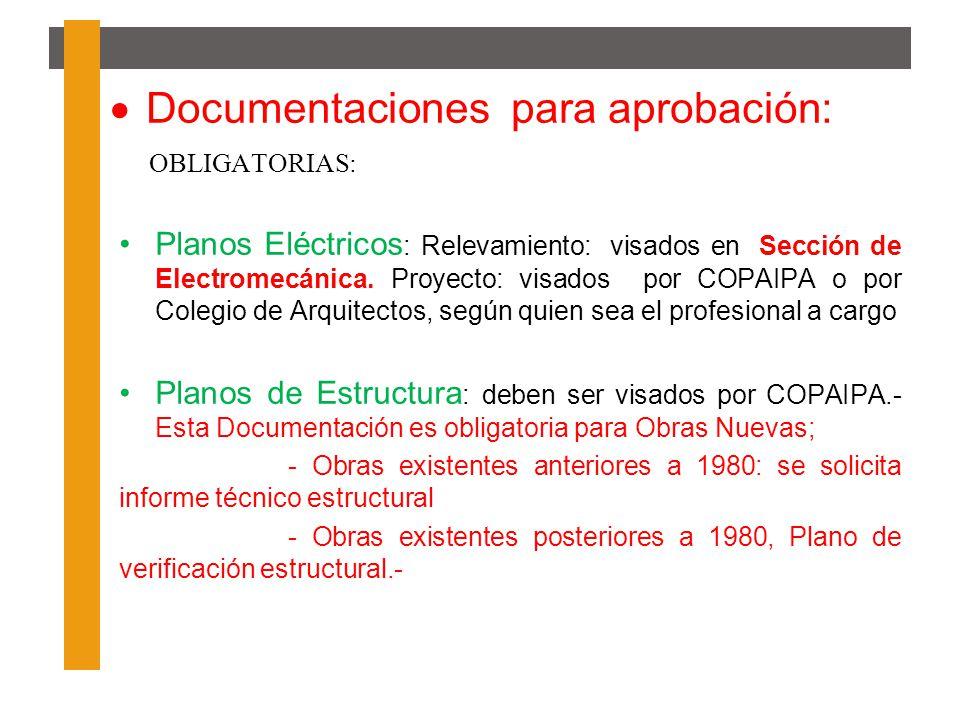 Documentaciones para aprobación: OBLIGATORIAS: Planos Eléctricos : Relevamiento: visados en Sección de Electromecánica. Proyecto: visados por COPAIPA