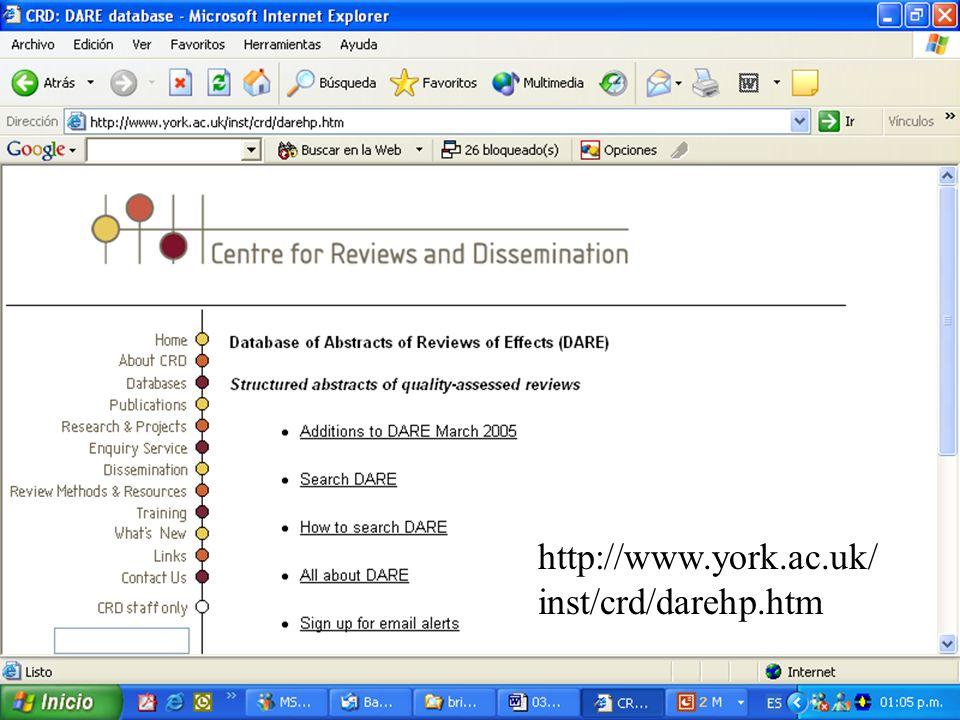 Metodología de la Investigación http://www.york.ac.uk/ inst/crd/darehp.htm