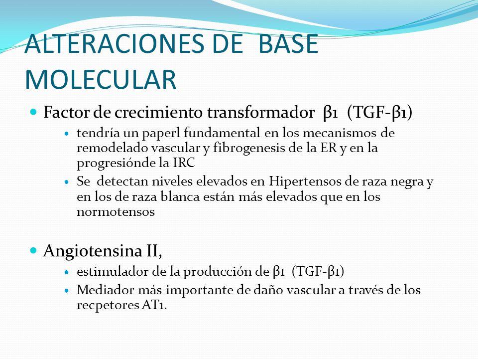 Factor de crecimiento transformador β1 (TGF-β1) tendría un paperl fundamental en los mecanismos de remodelado vascular y fibrogenesis de la ER y en la