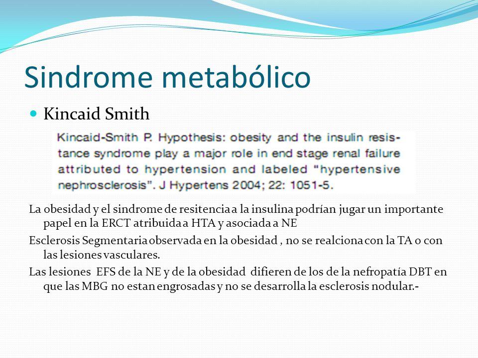 Sindrome metabólico Kincaid Smith La obesidad y el sindrome de resitencia a la insulina podrían jugar un importante papel en la ERCT atribuida a HTA y