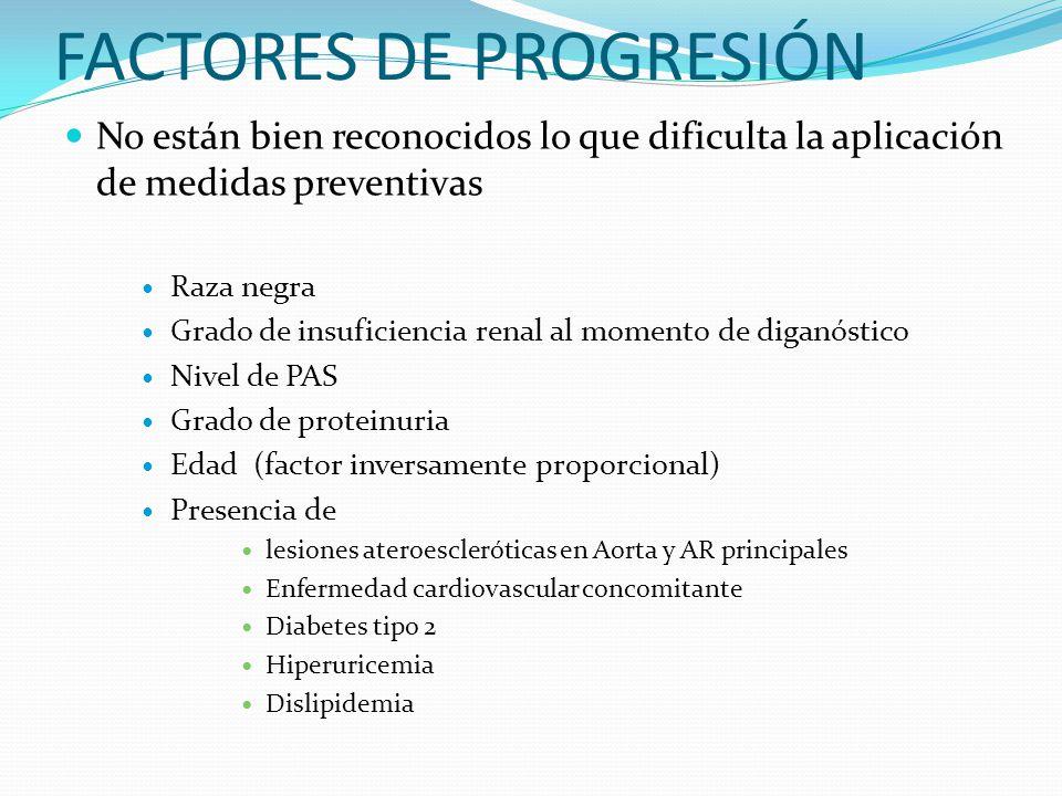 FACTORES DE PROGRESIÓN No están bien reconocidos lo que dificulta la aplicación de medidas preventivas Raza negra Grado de insuficiencia renal al mome