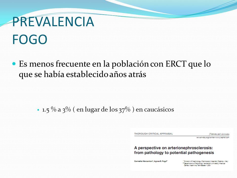 PREVALENCIA FOGO Es menos frecuente en la población con ERCT que lo que se había establecido años atrás 1.5 % a 3% ( en lugar de los 37% ) en caucásic