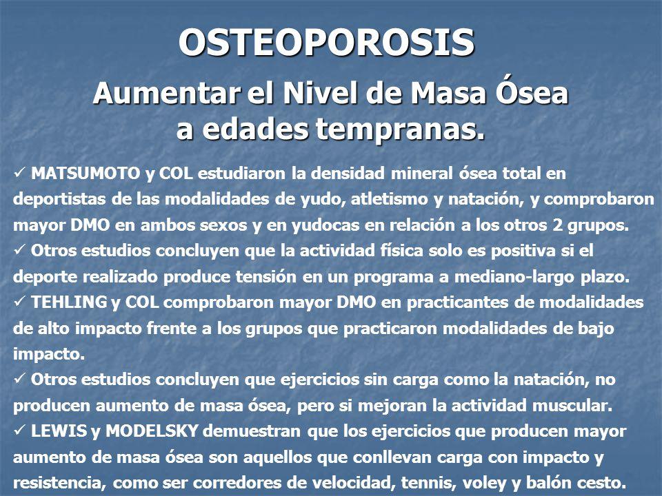 OSTEOPOROSIS Aumentar el Nivel de Masa Ósea a edades tempranas. MATSUMOTO y COL estudiaron la densidad mineral ósea total en deportistas de las modali