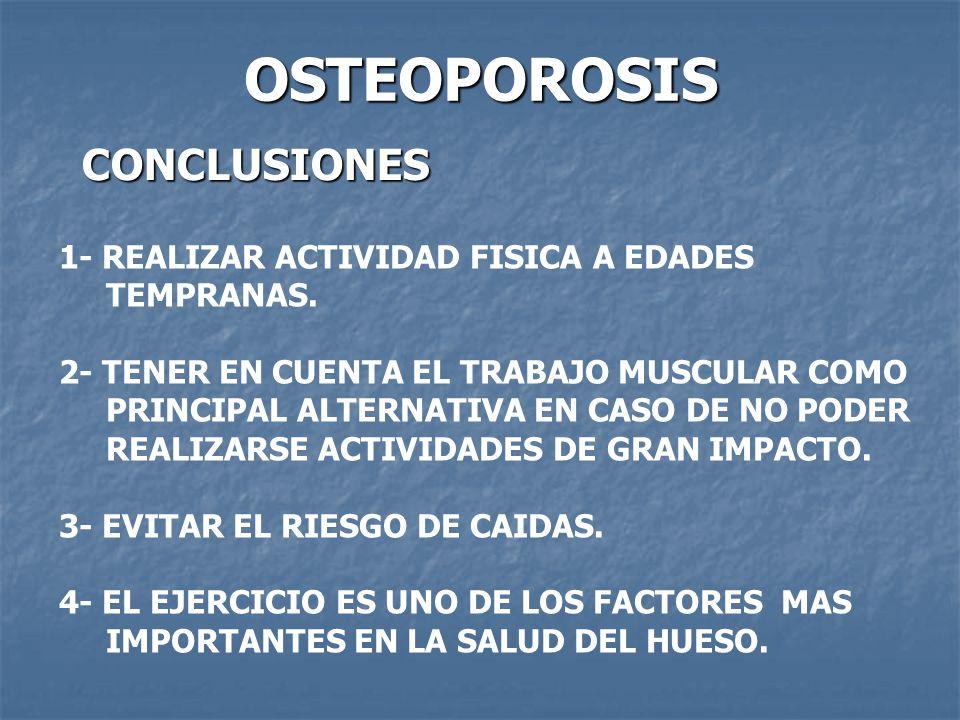OSTEOPOROSIS CONCLUSIONES 1- REALIZAR ACTIVIDAD FISICA A EDADES TEMPRANAS. 2- TENER EN CUENTA EL TRABAJO MUSCULAR COMO PRINCIPAL ALTERNATIVA EN CASO D