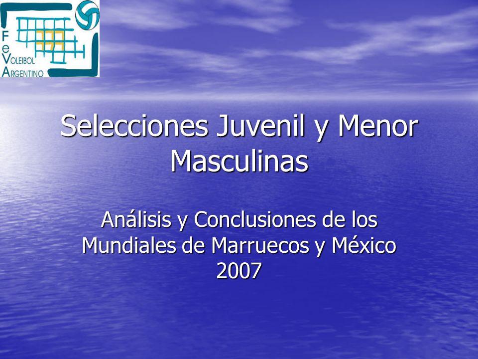 Selecciones Juvenil y Menor Masculinas Análisis y Conclusiones de los Mundiales de Marruecos y México 2007