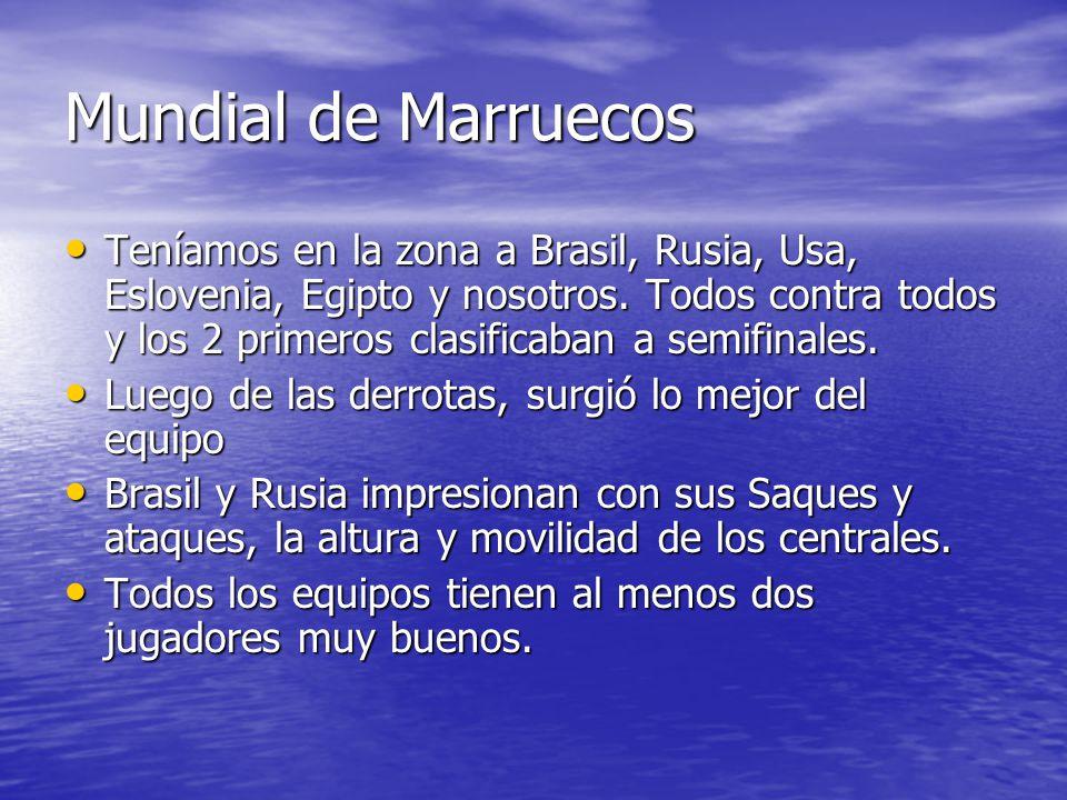 Mundial de Marruecos Teníamos en la zona a Brasil, Rusia, Usa, Eslovenia, Egipto y nosotros.