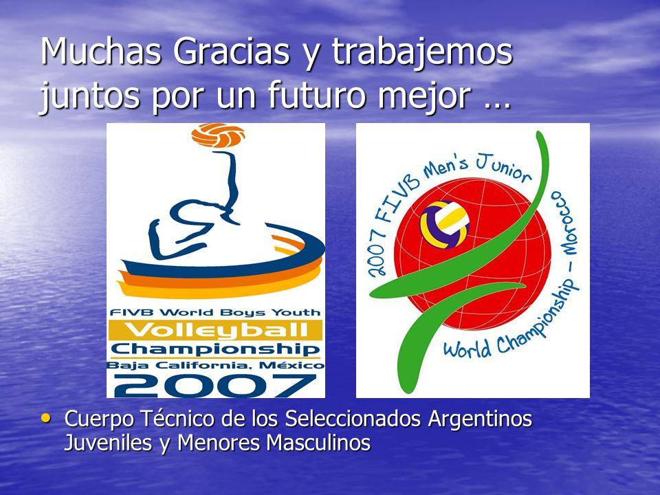 Muchas Gracias y trabajemos juntos por un futuro mejor … Cuerpo Técnico de los Seleccionados Argentinos Juveniles y Menores Masculinos Cuerpo Técnico de los Seleccionados Argentinos Juveniles y Menores Masculinos