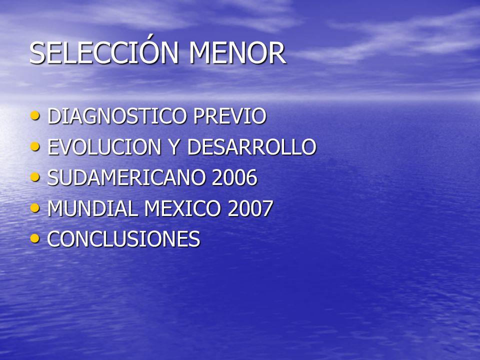 SELECCIÓN MENOR DIAGNOSTICO PREVIO DIAGNOSTICO PREVIO EVOLUCION Y DESARROLLO EVOLUCION Y DESARROLLO SUDAMERICANO 2006 SUDAMERICANO 2006 MUNDIAL MEXICO 2007 MUNDIAL MEXICO 2007 CONCLUSIONES CONCLUSIONES