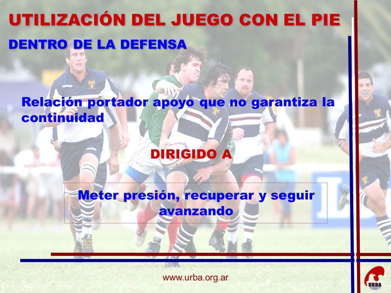 www.urba.org.ar Relación portador apoyo que no garantiza la continuidad DIRIGIDO A Meter presión, recuperar y seguir avanzando UTILIZACIÓN DEL JUEGO C