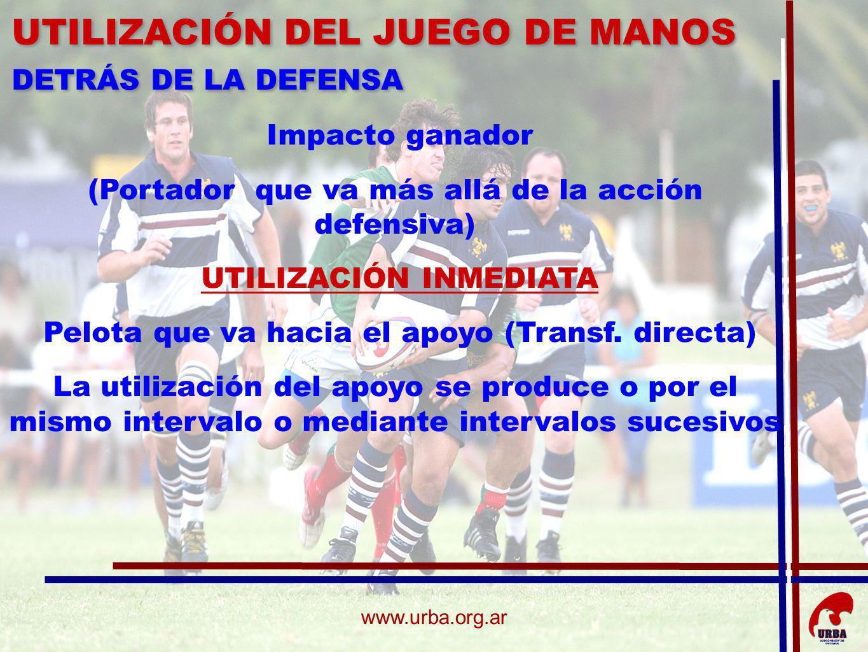 www.urba.org.ar Impacto ganador (Portador que va más allá de la acción defensiva) UTILIZACIÓN INMEDIATA Pelota que va hacia el apoyo (Transf. directa)