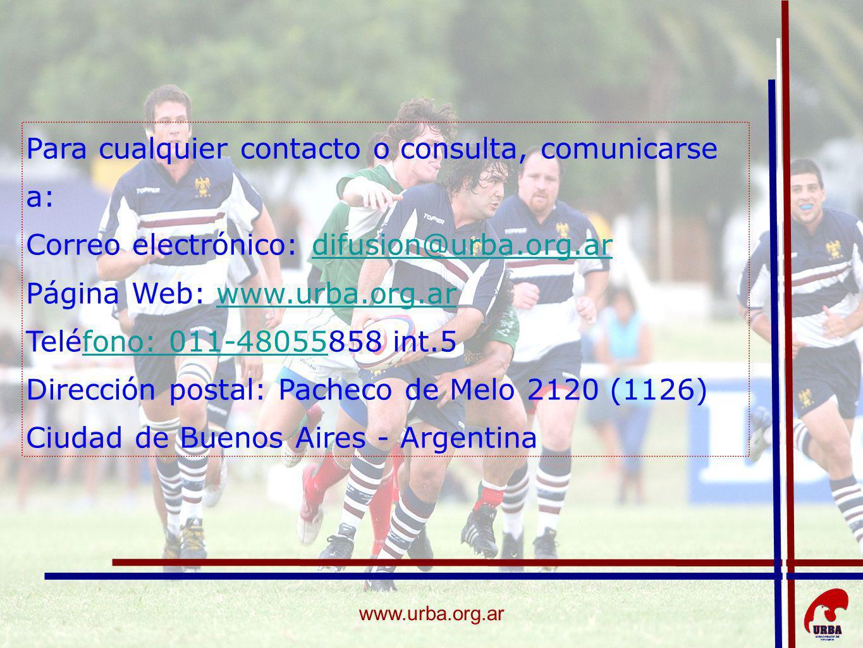 www.urba.org.ar Para cualquier contacto o consulta, comunicarse a: Correo electrónico: difusion@urba.org.ardifusion@urba.org.ar Página Web: www.urba.o