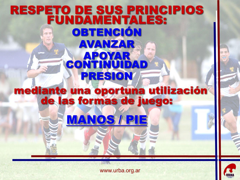 www.urba.org.ar RESPETO DE SUS PRINCIPIOS FUNDAMENTALES: OBTENCIÓN AVANZAR APOYAR CONTINUIDAD PRESION mediante una oportuna utilización de las formas de juego: MANOS / PIE RESPETO DE SUS PRINCIPIOS FUNDAMENTALES: OBTENCIÓN AVANZAR APOYAR CONTINUIDAD PRESION mediante una oportuna utilización de las formas de juego: MANOS / PIE
