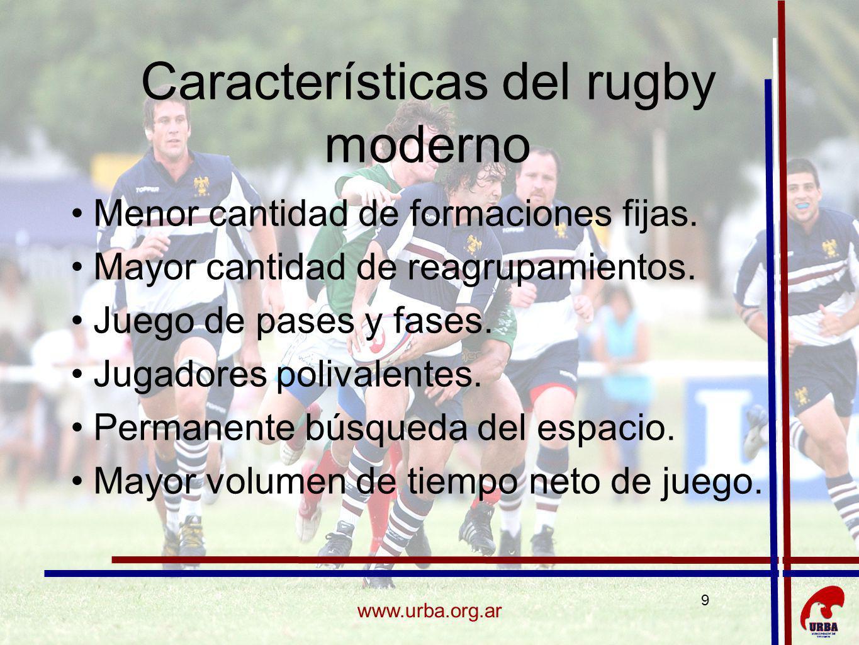 9 www.urba.org.ar Características del rugby moderno Menor cantidad de formaciones fijas. Mayor cantidad de reagrupamientos. Juego de pases y fases. Ju