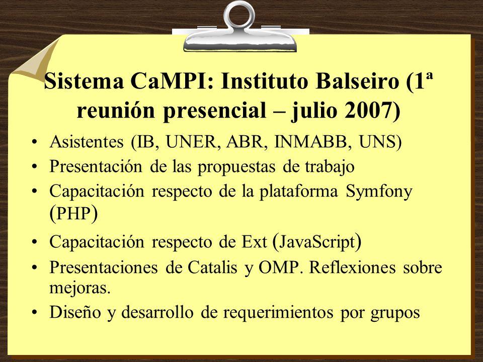 Sistema CaMPI: Instituto Balseiro (1ª reunión presencial – julio 2007) Asistentes (IB, UNER, ABR, INMABB, UNS) Presentación de las propuestas de trabajo Capacitación respecto de la plataforma Symfony ( PHP ) Capacitación respecto de Ext ( JavaScript ) Presentaciones de Catalis y OMP.