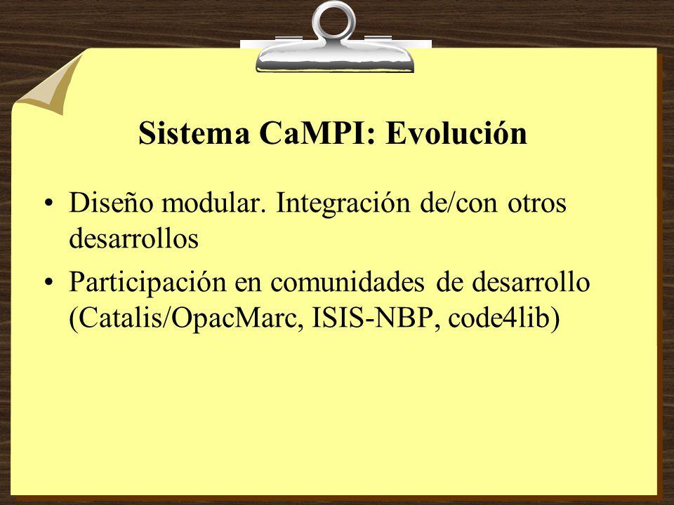 Sistema CaMPI: Evolución Diseño modular.