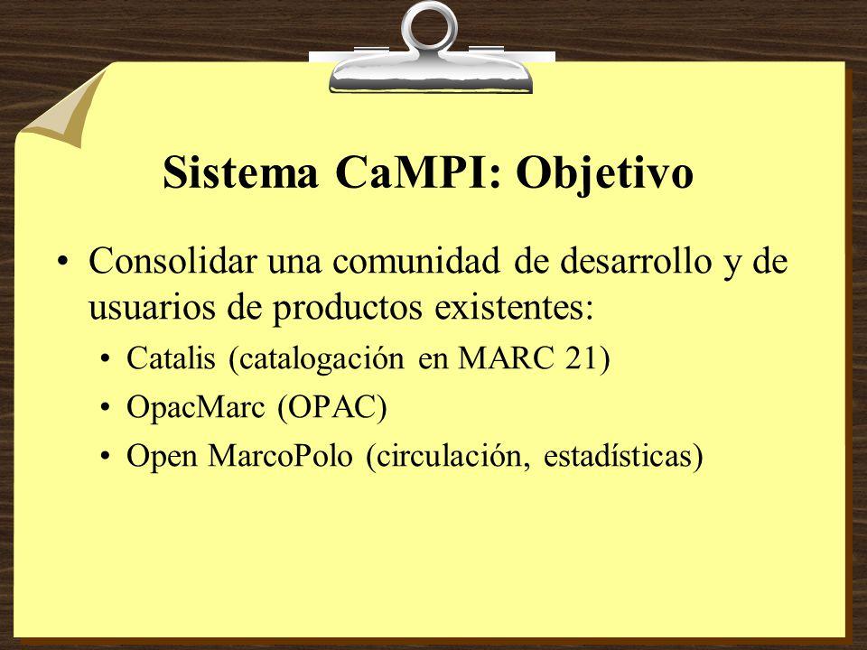 Sistema CaMPI: Objetivo Consolidar una comunidad de desarrollo y de usuarios de productos existentes: Catalis (catalogación en MARC 21) OpacMarc (OPAC) Open MarcoPolo (circulación, estadísticas)