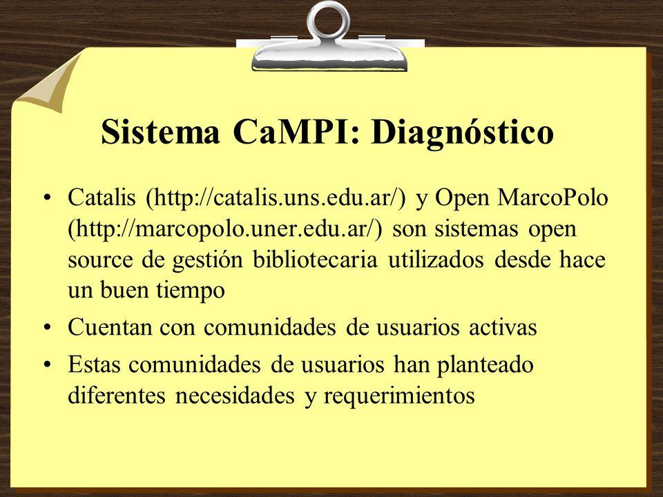 Sistema CaMPI: Diagnóstico Catalis (http://catalis.uns.edu.ar/) y Open MarcoPolo (http://marcopolo.uner.edu.ar/) son sistemas open source de gestión bibliotecaria utilizados desde hace un buen tiempo Cuentan con comunidades de usuarios activas Estas comunidades de usuarios han planteado diferentes necesidades y requerimientos