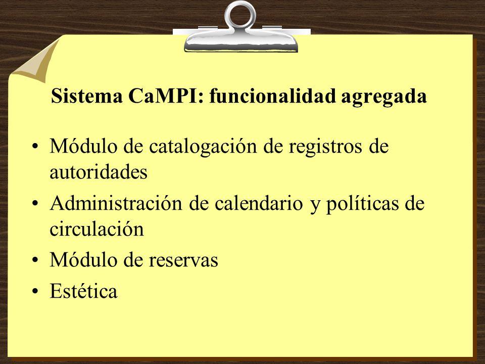 Sistema CaMPI: funcionalidad agregada Módulo de catalogación de registros de autoridades Administración de calendario y políticas de circulación Módulo de reservas Estética
