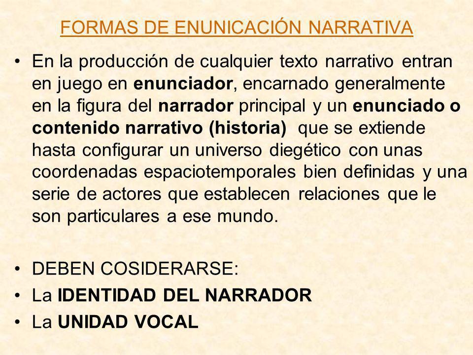 FORMAS DE ENUNICACIÓN NARRATIVA En la producción de cualquier texto narrativo entran en juego en enunciador, encarnado generalmente en la figura del n