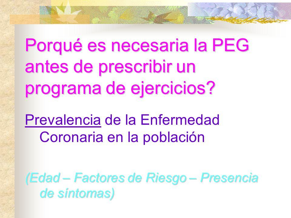 Porqué es necesaria la PEG antes de prescribir un programa de ejercicios? Prevalencia de la Enfermedad Coronaria en la población (Edad – Factores de R