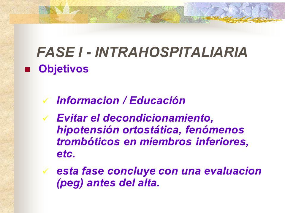 FASE I - INTRAHOSPITALIARIA Objetivos Informacion / Educación Evitar el decondicionamiento, hipotensión ortostática, fenómenos trombóticos en miembros