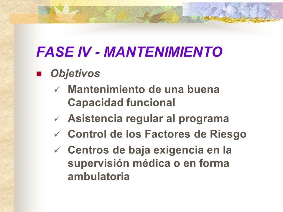 FASE IV - MANTENIMIENTO Objetivos Mantenimiento de una buena Capacidad funcional Asistencia regular al programa Control de los Factores de Riesgo Cent
