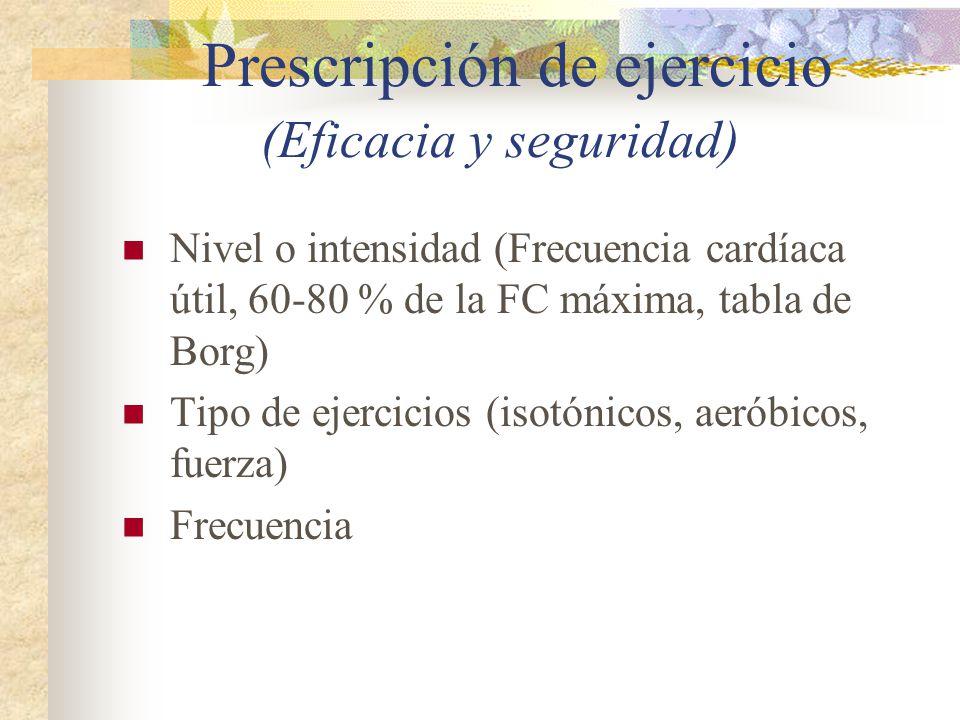 Prescripción de ejercicio (Eficacia y seguridad) Nivel o intensidad (Frecuencia cardíaca útil, 60-80 % de la FC máxima, tabla de Borg) Tipo de ejercic
