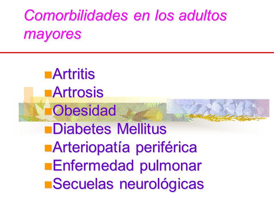 Comorbilidades en los adultos mayores Artritis Artritis Artrosis Artrosis Obesidad Obesidad Diabetes Mellitus Diabetes Mellitus Arteriopatía periféric