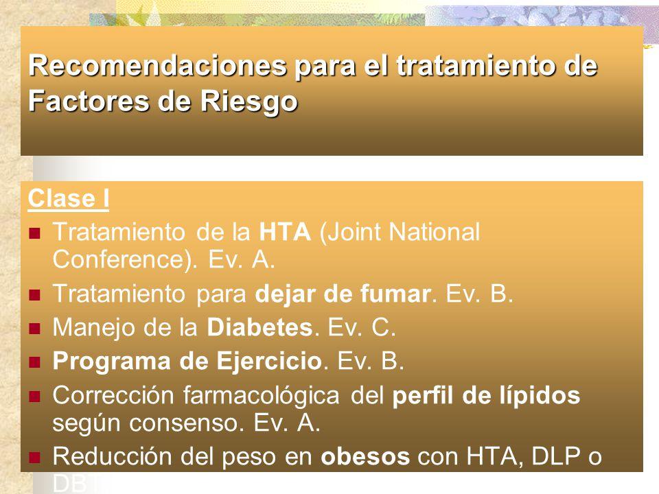 Recomendaciones para el tratamiento de Factores de Riesgo Clase I Tratamiento de la HTA (Joint National Conference). Ev. A. Tratamiento para dejar de