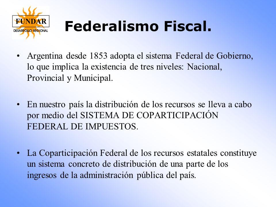 Federalismo Fiscal. Argentina desde 1853 adopta el sistema Federal de Gobierno, lo que implica la existencia de tres niveles: Nacional, Provincial y M