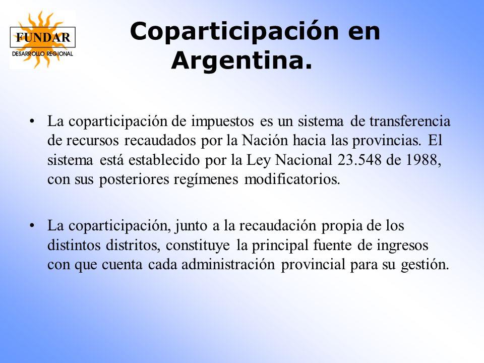 Coparticipación en Argentina. La coparticipación de impuestos es un sistema de transferencia de recursos recaudados por la Nación hacia las provincias