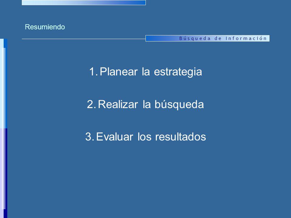 B ú s q u e d a d e I n f o r m a c i ó n Resumiendo 1.Planear la estrategia 2.Realizar la búsqueda 3.Evaluar los resultados