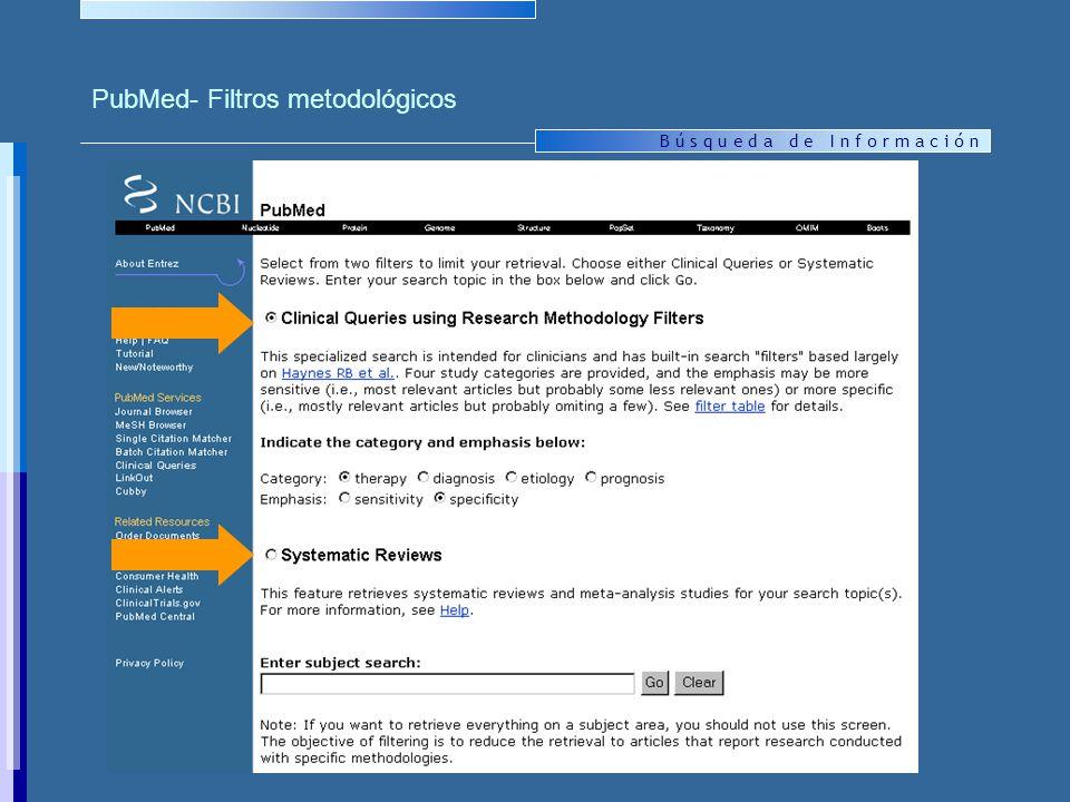 B ú s q u e d a d e I n f o r m a c i ó n PubMed- Filtros metodológicos