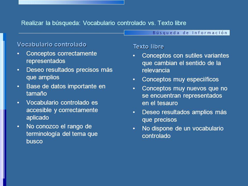 B ú s q u e d a d e I n f o r m a c i ó n Realizar la búsqueda: Vocabulario controlado vs.