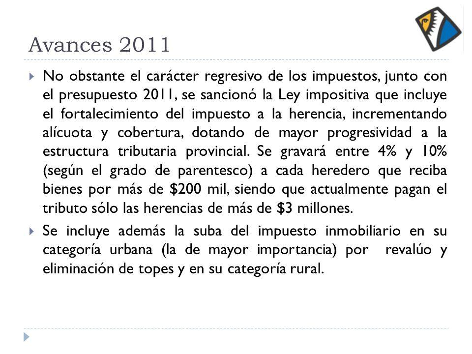 Avances 2011 No obstante el carácter regresivo de los impuestos, junto con el presupuesto 2011, se sancionó la Ley impositiva que incluye el fortaleci