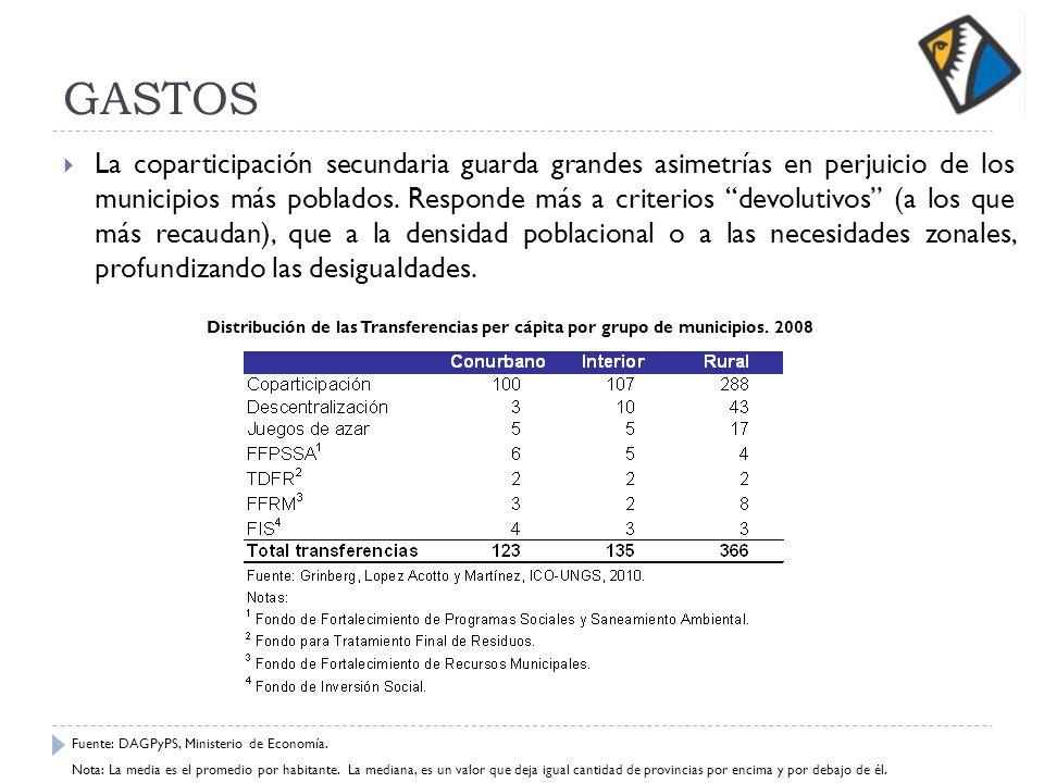 GASTOS La coparticipación secundaria guarda grandes asimetrías en perjuicio de los municipios más poblados. Responde más a criterios devolutivos (a lo