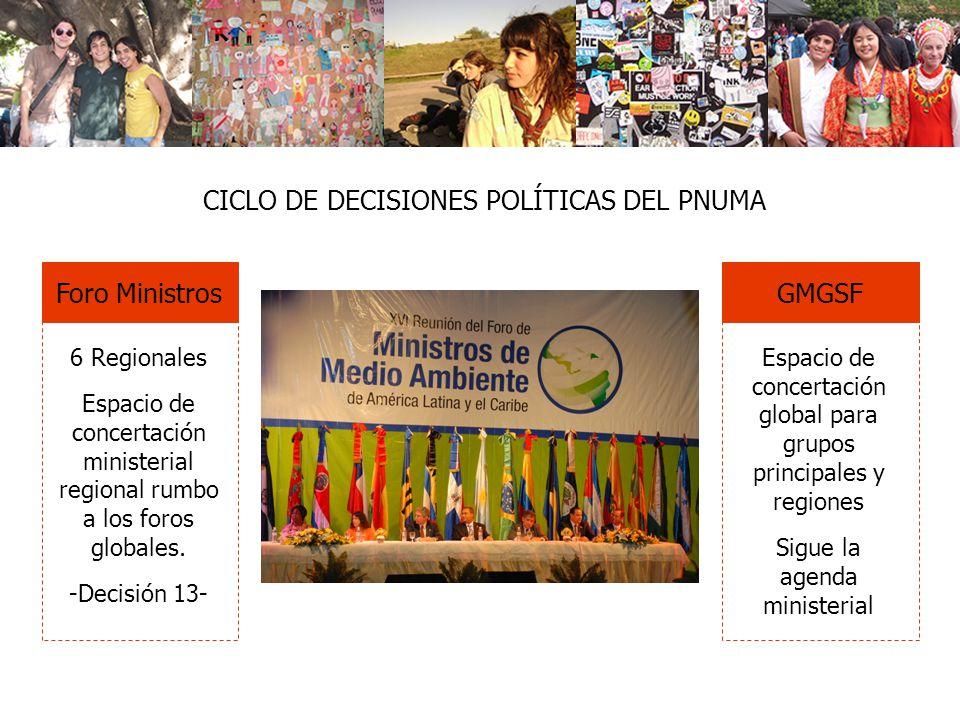 Foro Ministros 6 Regionales Espacio de concertación ministerial regional rumbo a los foros globales. -Decisión 13- GMGSF Espacio de concertación globa
