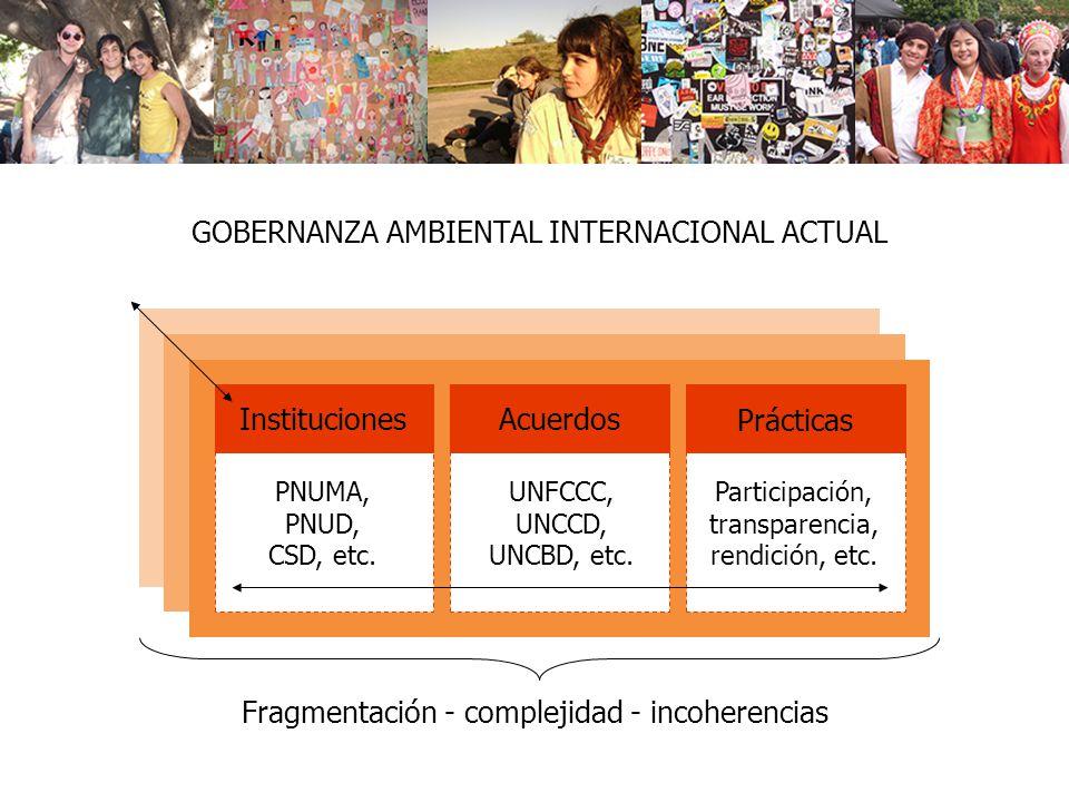 GOBERNANZA AMBIENTAL INTERNACIONAL ACTUAL Instituciones PNUMA, PNUD, CSD, etc. Acuerdos UNFCCC, UNCCD, UNCBD, etc. Prácticas Participación, transparen