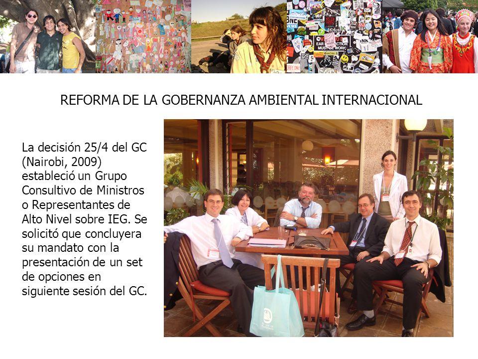 REFORMA DE LA GOBERNANZA AMBIENTAL INTERNACIONAL La decisión 25/4 del GC (Nairobi, 2009) estableció un Grupo Consultivo de Ministros o Representantes de Alto Nivel sobre IEG.