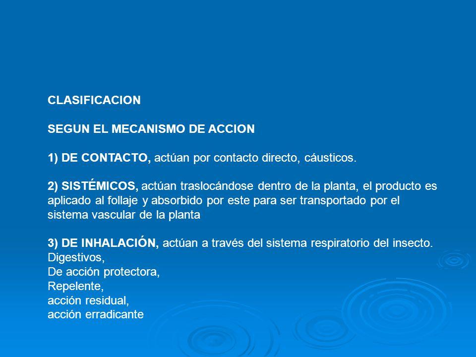 CLASIFICACION SEGUN EL MECANISMO DE ACCION 1) DE CONTACTO, actúan por contacto directo, cáusticos.