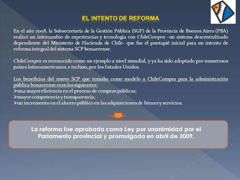 Recuadro: La ley de Reforma del SCP bonaerense Los objetivos fundamentales de la Ley de Reforma eran el fortalecimiento de la competitividad de la economía y la mejora de la eficiencia de la Administración pública provinciales.