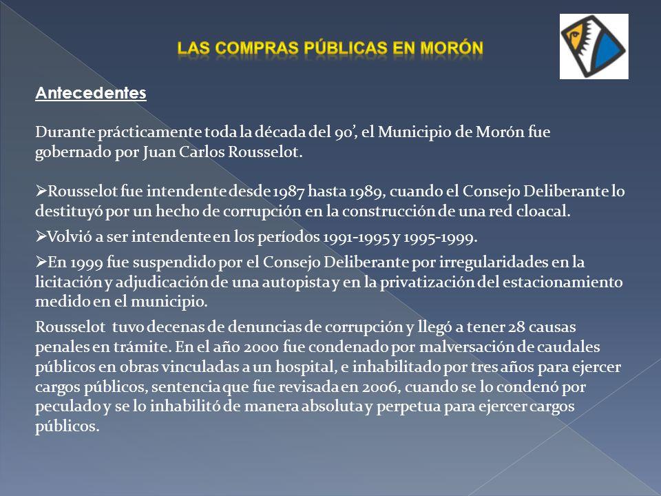 En abril de 2008 se lanzó el Portal Morón Compra, un sitio web que opera como sistema informativo de todas las compras públicas y, además, como sistema transaccional para gestionar las compras directas.
