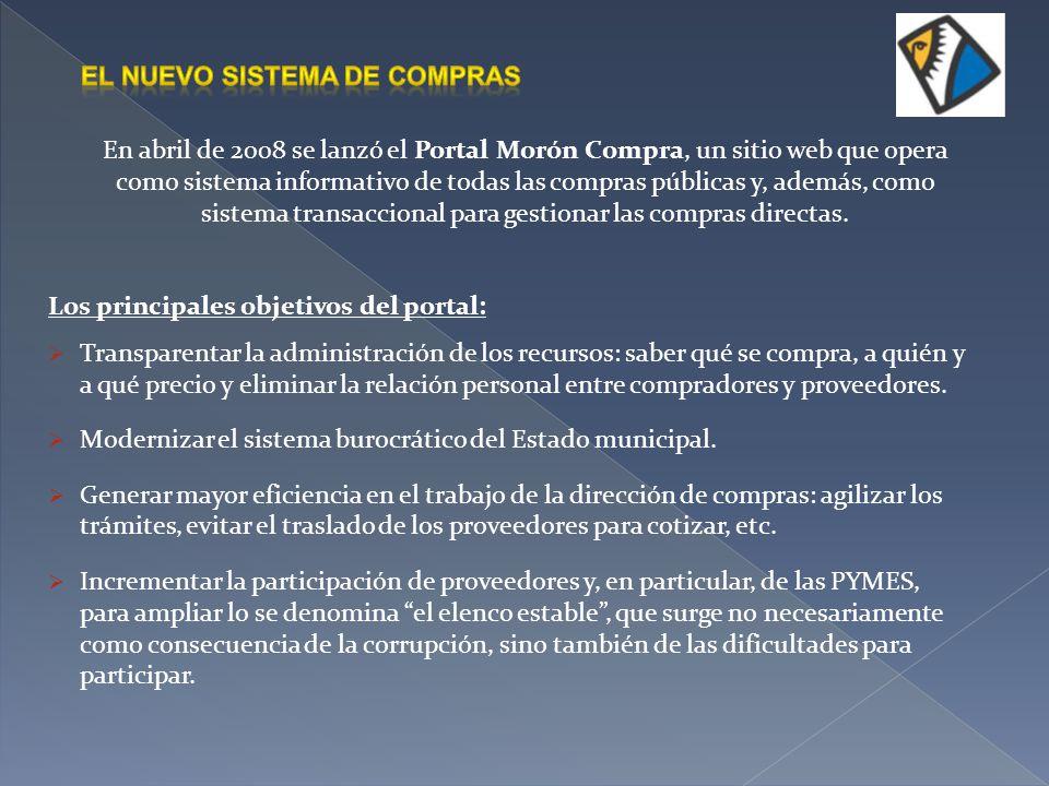 En abril de 2008 se lanzó el Portal Morón Compra, un sitio web que opera como sistema informativo de todas las compras públicas y, además, como sistem