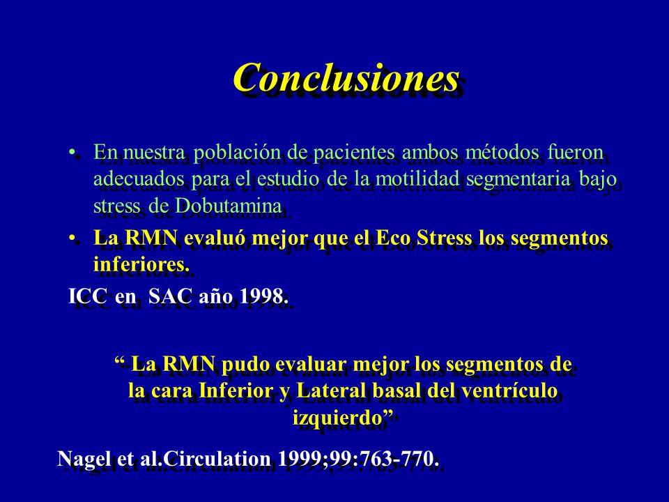 ConclusionesConclusiones En nuestra población de pacientes ambos métodos fueron adecuados para el estudio de la motilidad segmentaria bajo stress de D
