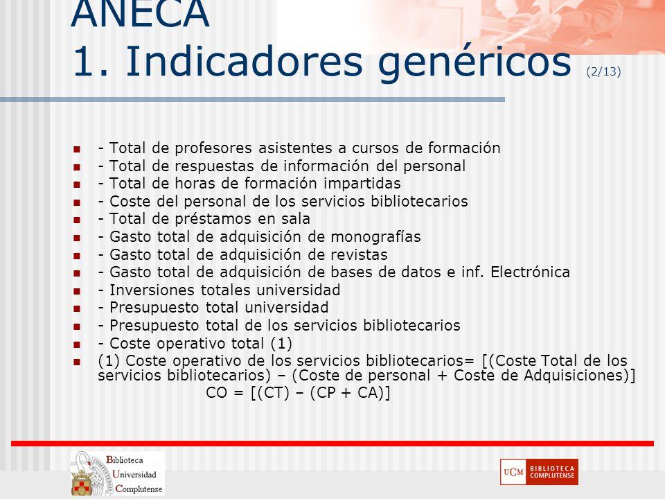 ANECA 1. Indicadores genéricos (2/13) - Total de profesores asistentes a cursos de formación - Total de respuestas de información del personal - Total