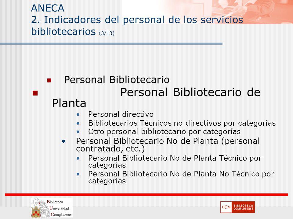 ANECA 2. Indicadores del personal de los servicios bibliotecarios (3/13) Personal Bibliotecario Personal Bibliotecario de Planta Personal directivo Bi