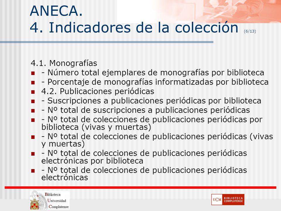 ANECA. 4. Indicadores de la colección (6/13) 4.1. Monografías - Número total ejemplares de monografías por biblioteca - Porcentaje de monografías info
