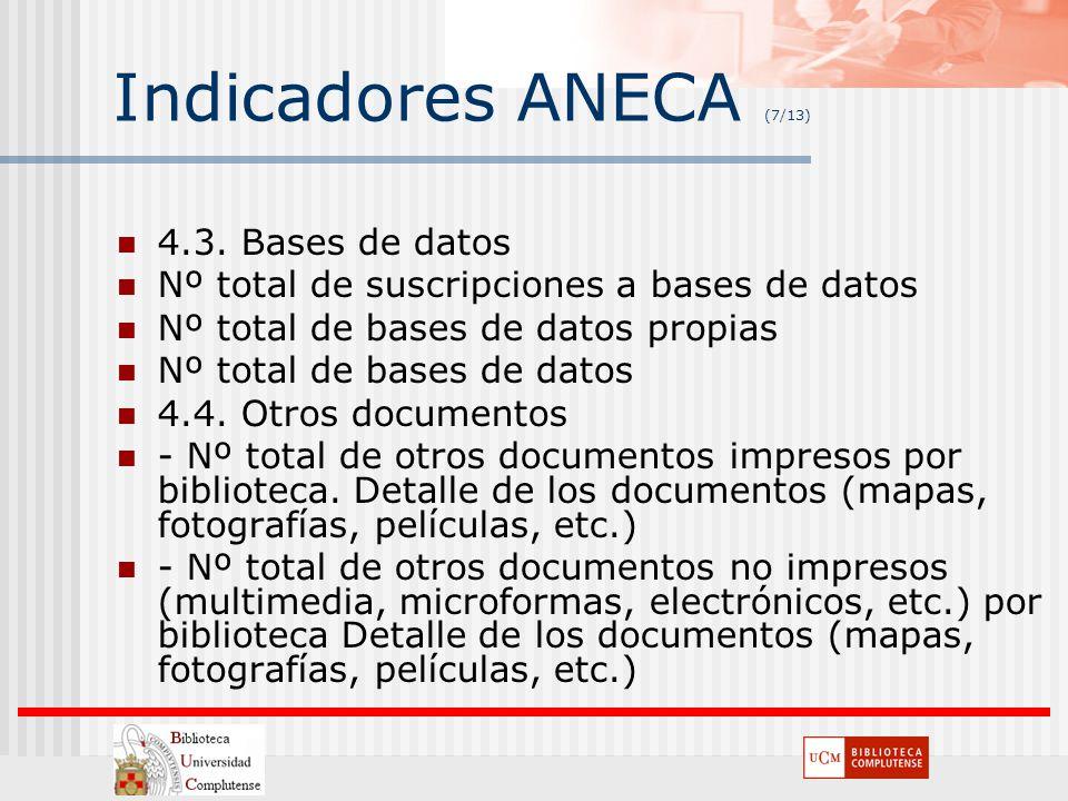 Indicadores ANECA (7/13) 4.3. Bases de datos Nº total de suscripciones a bases de datos Nº total de bases de datos propias Nº total de bases de datos
