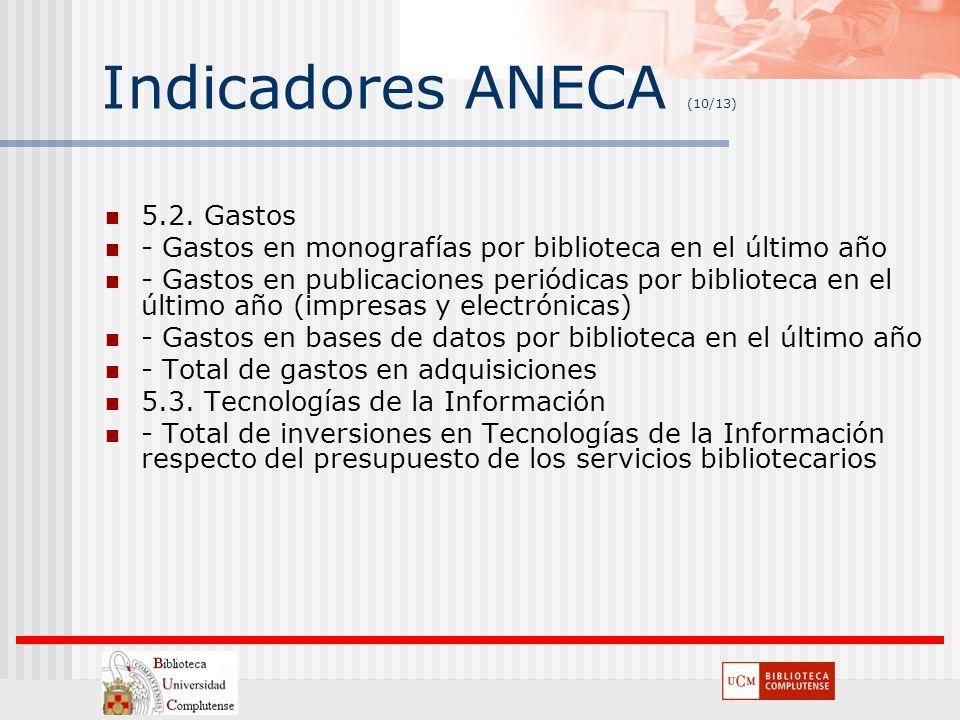 Indicadores ANECA (10/13) 5.2. Gastos - Gastos en monografías por biblioteca en el último año - Gastos en publicaciones periódicas por biblioteca en e